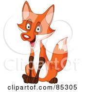 Royalty Free RF Clipart Illustration Of A Happy Sitting Red Nosed Fox by yayayoyo