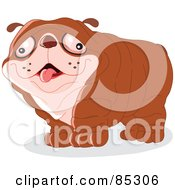 Royalty Free RF Clipart Illustration Of A Wrinkly Brown Dog