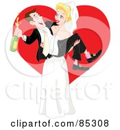 Royalty Free RF Clipart Illustration Of A Beautiful Blond Bride Carrying Her Drunk Groom by yayayoyo