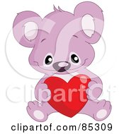 Royalty Free RF Clipart Illustration Of A Cute Purple Koala With A Red Heart