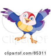 Royalty Free RF Clipart Illustration Of A Friendly Colorful Bird Pointing With Its Wing