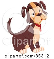 Royalty Free RF Clipart Illustration Of A Sad Brown And Tan Dog Sitting by yayayoyo