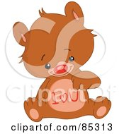 Royalty Free RF Clipart Illustration Of A Cute Bear With I Love You On His Belly by yayayoyo