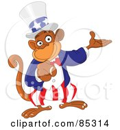 Royalty Free RF Clipart Illustration Of A Pointing Uncle Sam Monkey