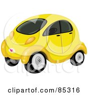 Cute Compact Yellow Car With Tinted Windows