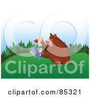 Royalty Free RF Clipart Illustration Of A Bear With Honey On His Paw Trying To Shake Off An Infatuated Squirrel by yayayoyo