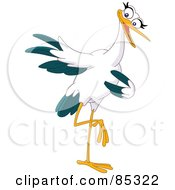 Royalty Free RF Clipart Illustration Of A Friendly Pointing Stork Balanced On One Leg