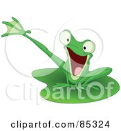 Royalty Free RF Clipart Illustration Of An Energetic Green Kicking Frog On A Lily Pad