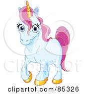 Royalty Free RF Clipart Illustration Of A Blue Unicorn With Golden Hooves And Pink Hair