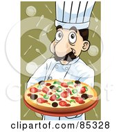 Royalty Free RF Clipart Illustration Of A Friendly Pizza Pie Chef With A Supreme Pizza