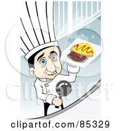 Royalty Free RF Clipart Illustration Of A Blue Eyed Male Chef Holding A Plate Of Food Behind A Counter by mayawizard101