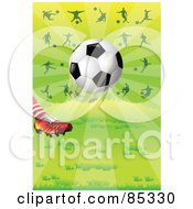 Cleated Foot Kicking A Soccer Ball With Silhouetted Athletes Over Green