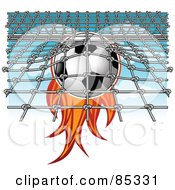 Royalty Free RF Clipart Illustration Of A Flaming Soccer Ball Smashing Into A Net