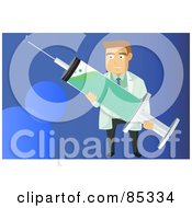 Royalty Free RF Clipart Illustration Of A Male Caucasian Doctor Holding A H1n1 Vaccine Syringe Over Blue by mayawizard101