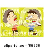 Royalty Free RF Clipart Illustration Of Twin Boys Laughing During A Food Fight by mayawizard101