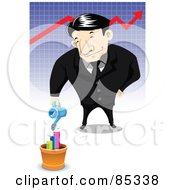 Asian Businessman Watering A Potted Bar Graph In Front Of A Red Arrow Chart
