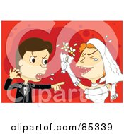 Royalty Free RF Clipart Illustration Of A Caucasian Wedding Couple Fighting And Screaming
