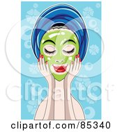 Royalty Free RF Clipart Illustration Of A Relaxed Woman Touching A Green Mask On Her Face Her Hair In A Towel by mayawizard101