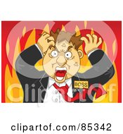 Royalty Free RF Clipart Illustration Of A Flaming Mad Boss With A Red Arrow Tie Grabbing His Hair by mayawizard101