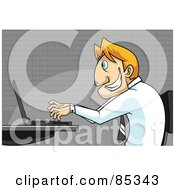 Royalty Free RF Clipart Illustration Of A Grinning Blond Businessman In Profile Typing On A Laptop by mayawizard101