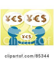Poster, Art Print Of Blue Silhouetted Men Shaking Hands With Yes Yen Euro And Dollar Symbols