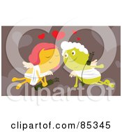 Royalty Free RF Clipart Illustration Of A Cupid Couple In Love Under Red Hearts by mayawizard101
