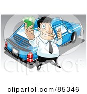 Royalty Free RF Clipart Illustration Of A Car Salesman Holding Cash And Standing By A Blue Car