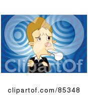 Royalty Free RF Clipart Illustration Of A Stubborn And Angry Man With His Arms Crossed And A Word Balloon Over Blue Circles