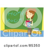 Royalty Free RF Clipart Illustration Of A Friendly Young Female Teacher Holding Books And Smiling By A Home Room Chalk Board