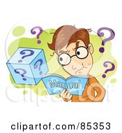 Confused Man Reading A Manual Over Green And White With Question Marks