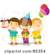 Royalty Free RF Clipart Illustration Of Three Birthday Party Guest Boys With A Cake Present And Balloons by mayawizard101