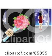 Royalty Free RF Clipart Illustration Of A Secretive Gentleman Holding Roses Behind His Back While Walking Towards A Woman by mayawizard101
