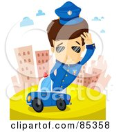Royalty Free RF Clipart Illustration Of A Brunette Police Man Saluting And Sticking Out Of His Car In The City