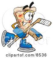 Slice Of Pizza Mascot Cartoon Character Playing Ice Hockey