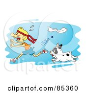Royalty Free RF Clipart Illustration Of A Tough Little Bulldog Chasing A Scared Running Boy