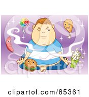 Royalty Free RF Clipart Illustration Of A Fat Boy Meditating And Trying To Motivate Healthy Food Thoughts While Being Circled By Junk Food