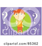 Royalty Free RF Clipart Illustration Of A Wondering Red Haired Boy In A Green Circle Surrounded By Question Marks On Purple