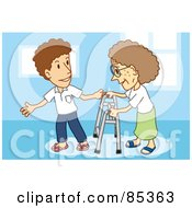 Royalty Free RF Clipart Illustration Of A Gentleman Assisting An Elderly Woman With A Walker