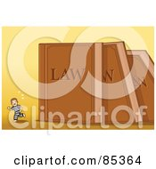 Tiny Prisoner Running From Toppling Giant Law Books Over Yellow