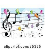 Royalty Free RF Clipart Illustration Of A Colorful Clips Pinning Music Notes To A Clothes Line Against A Cloudy Sky by mayawizard101