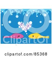 Royalty Free RF Clipart Illustration Of Pink And Yellow Fish With A Heart Of Bubbles In The Blue Sea