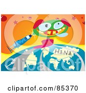 Jack In The Box Pig With A Syringe And H1n1 Flu Globe Over Orange