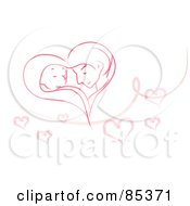 Royalty Free RF Clipart Illustration Of A Romantic Couple Forming A Pink Heart Over White With A Swirl And Hearts
