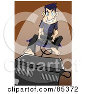 Royalty Free RF Clipart Illustration Of An Obsessed Gamer Man Sitting On A Mat In Front Of A Tv And Playing A Game by mayawizard101