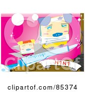 Royalty Free RF Clipart Illustration Of Abstract Pigs With A Syringe And An H1n1 Banner by mayawizard101