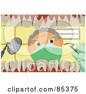 Royalty Free RF Clipart Illustration Of A View From Inside A Human Mouth Showing A Dentist Peering In At The Teeth