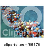 Royalty Free RF Clipart Illustration Of A Closeup Of A 3d Colorful Dna Strand Over A Water Like Background by Mopic
