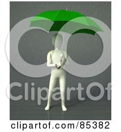 3d Figure Standing Under A Green Umbrella In The Rain