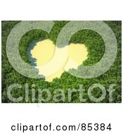 Royalty Free RF Clipart Illustration Of A 3d Aerial View Down On A Heart Shaped Clearing In The Middle Of A Forest