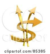 3d Golden Arrows Forming A Dollar Symbol
